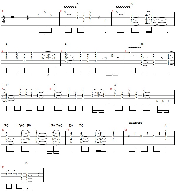 12-Bar Blues with 9th and 7th chords